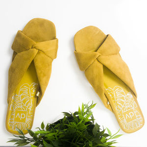 DV Addie Microsuede Knotted Slide Sandal Yellow 12